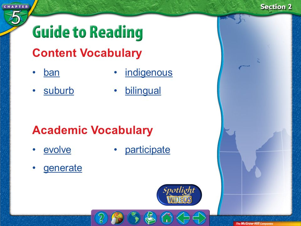Content Vocabulary Academic Vocabulary ban suburb indigenous bilingual