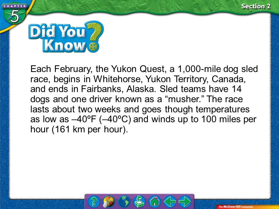 Each February, the Yukon Quest, a 1,000-mile dog sled race, begins in Whitehorse, Yukon Territory, Canada, and ends in Fairbanks, Alaska. Sled teams have 14 dogs and one driver known as a musher. The race lasts about two weeks and goes though temperatures as low as –40ºF (–40ºC) and winds up to 100 miles per hour (161 km per hour).
