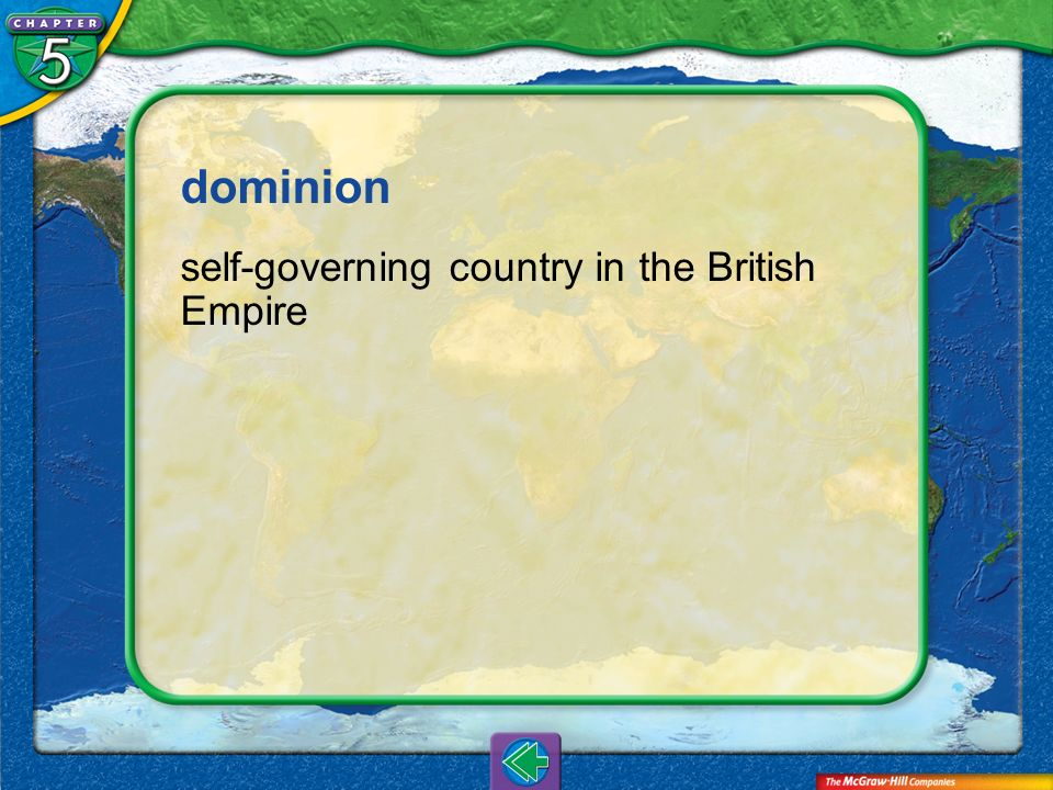 dominion self-governing country in the British Empire Vocab4