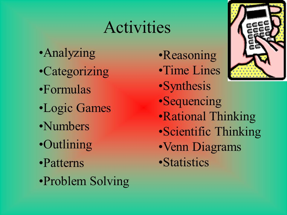 Activities Analyzing Reasoning Categorizing Time Lines Formulas