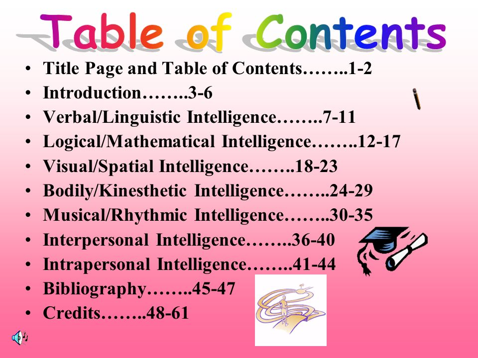 Table of Contents Title Page and Table of Contents…… Introduction…… Verbal/Linguistic Intelligence……
