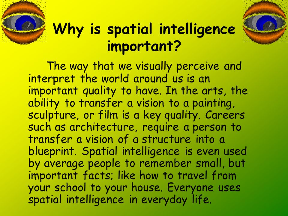 Why is spatial intelligence important