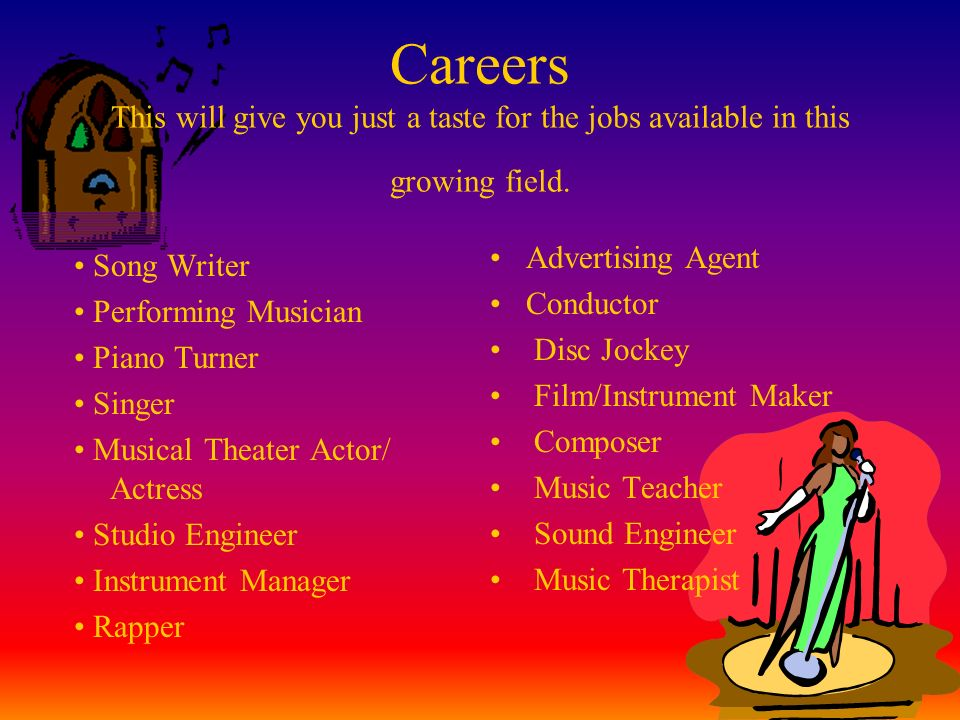 Careers This will give you just a taste for the jobs available in this growing field.