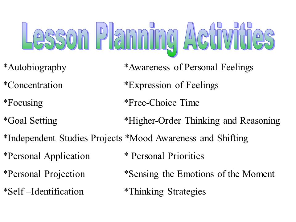 Lesson Planning Activities