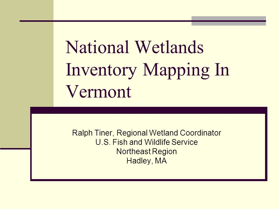 U S Fish And Wildlife Service Northeast Region Hadley Ma National Wetlands Inventory Mapping In Vermont