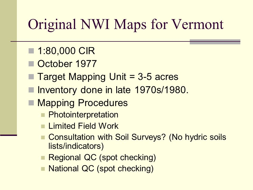Original NWI Maps for Vermont