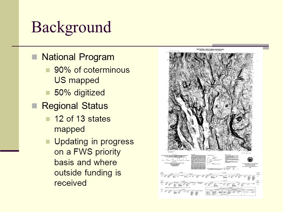 Background National Program Regional Status