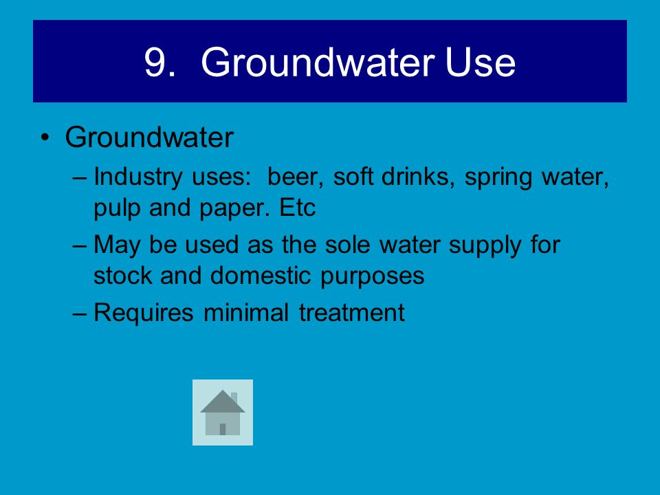 9. Groundwater Use Groundwater