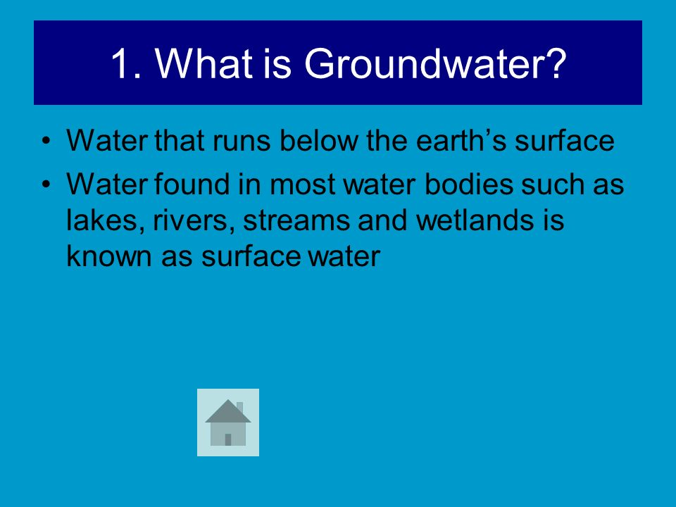 1. What is Groundwater Water that runs below the earth's surface