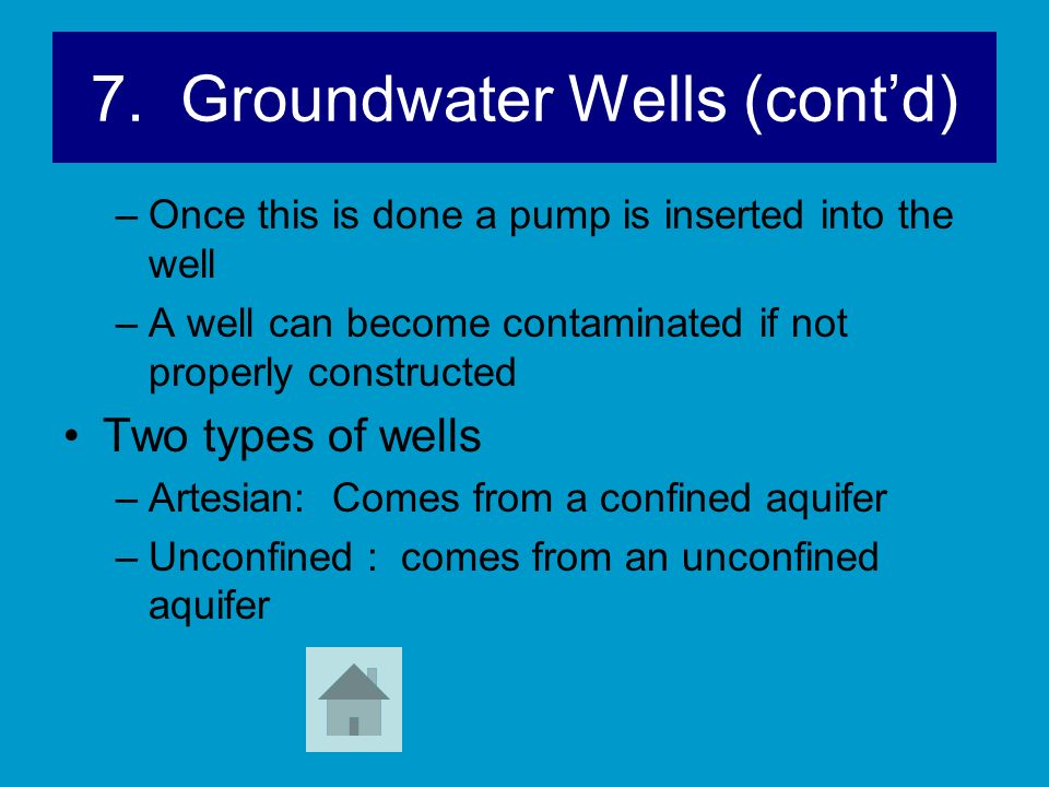 7. Groundwater Wells (cont'd)