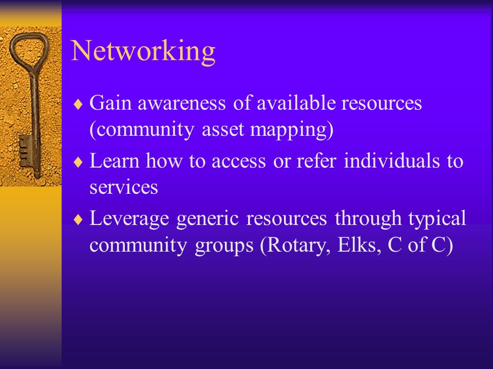 Networking Gain awareness of available resources (community asset mapping) Learn how to access or refer individuals to services.