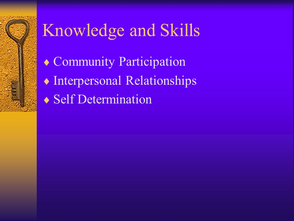Knowledge and Skills Community Participation