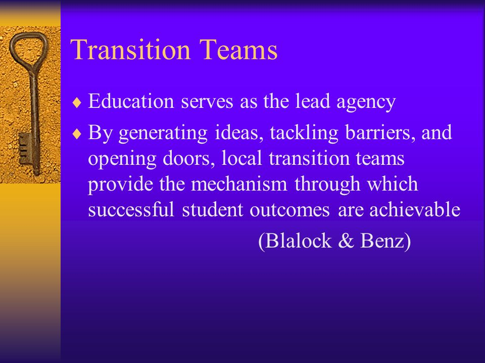 Transition Teams Education serves as the lead agency