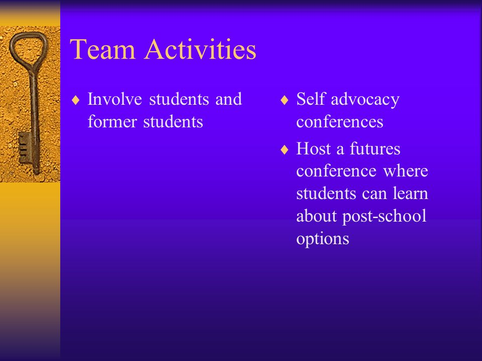 Team Activities Involve students and former students