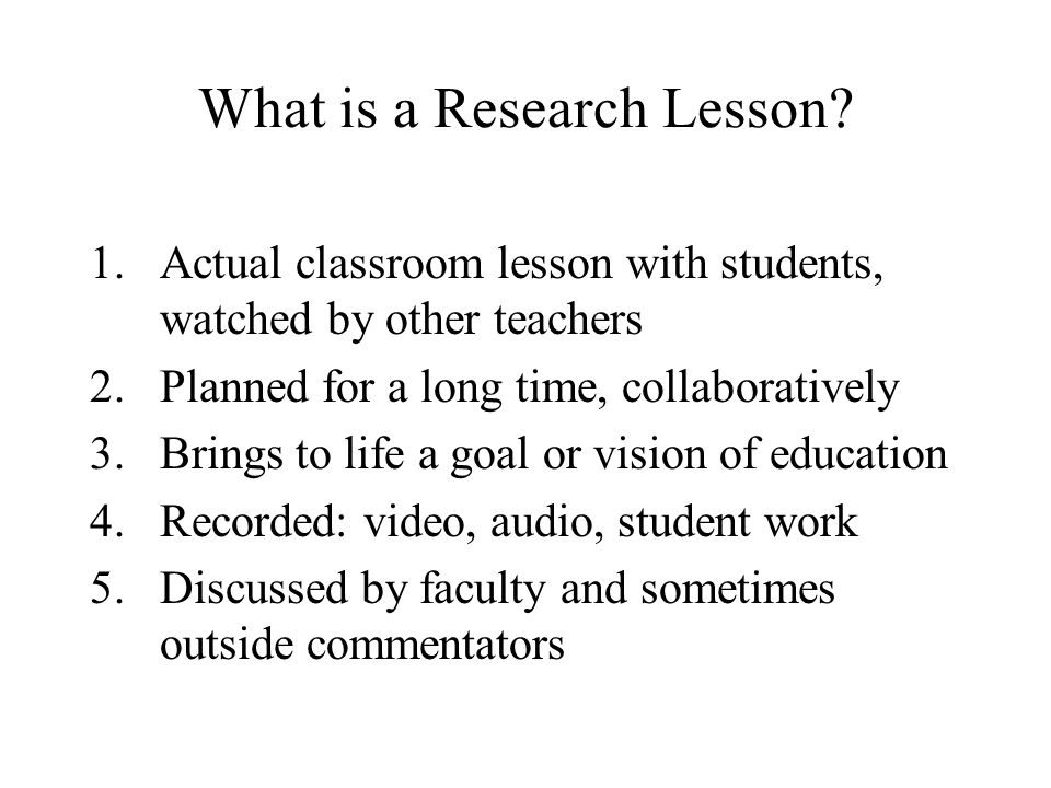 What is a Research Lesson