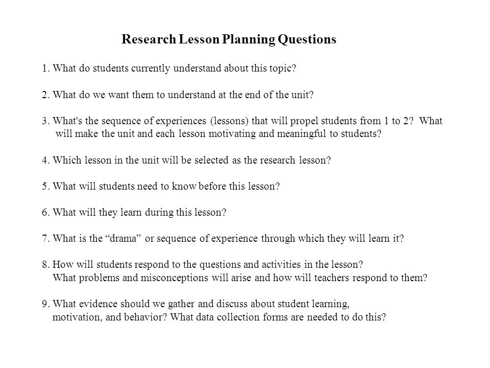 Research Lesson Planning Questions 1
