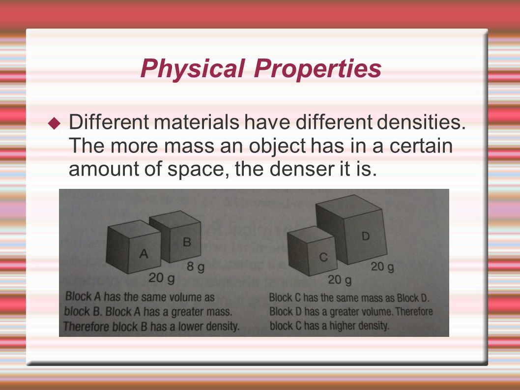 how different materials have different densities essay The theory of 'isostasy' postulates a system for the distribution of materials in the  here is your short essay on  to have different densities and.