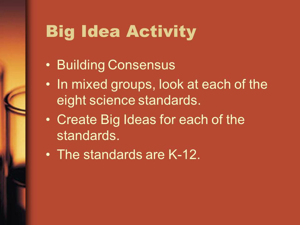Big Idea Activity Building Consensus