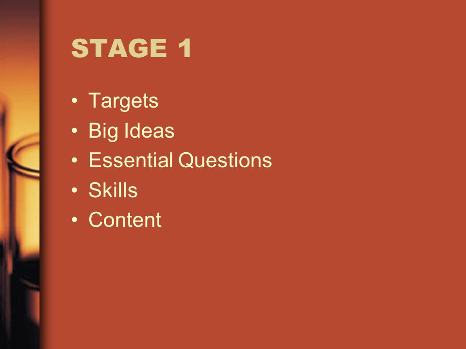 STAGE 1 Targets Big Ideas Essential Questions Skills Content