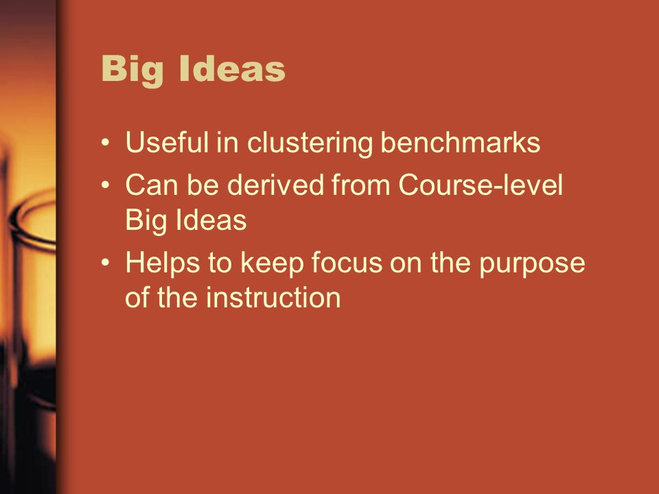 Big Ideas Useful in clustering benchmarks