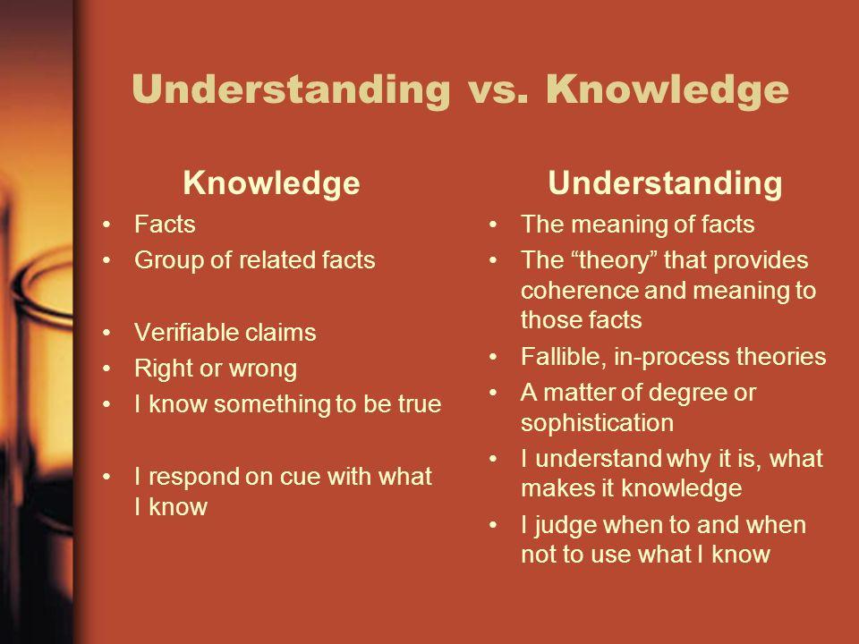 Understanding vs. Knowledge