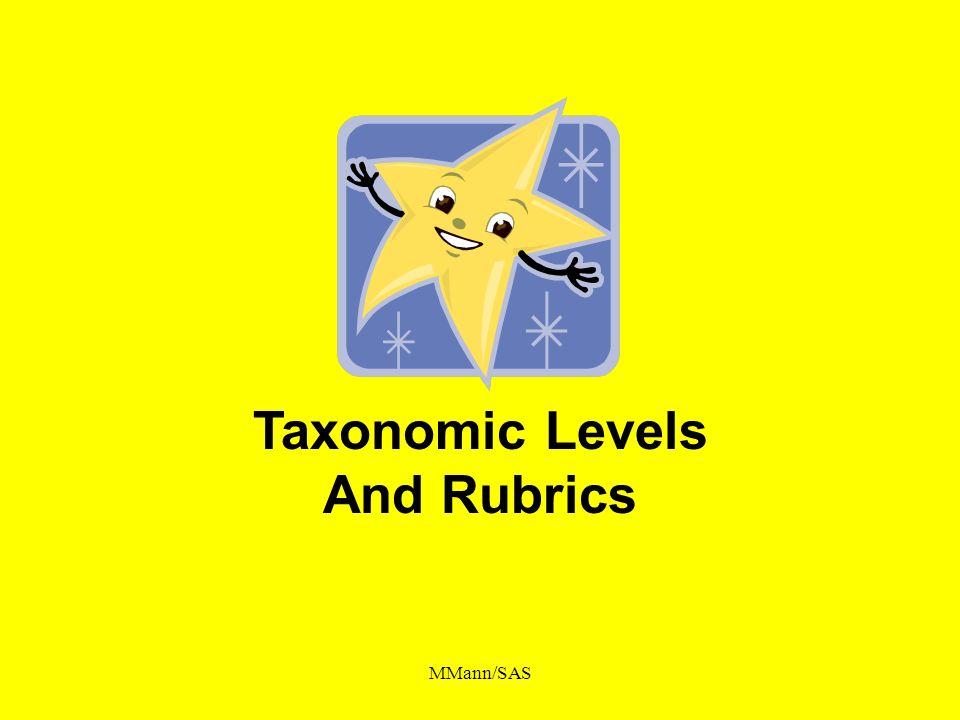 Taxonomic Levels And Rubrics