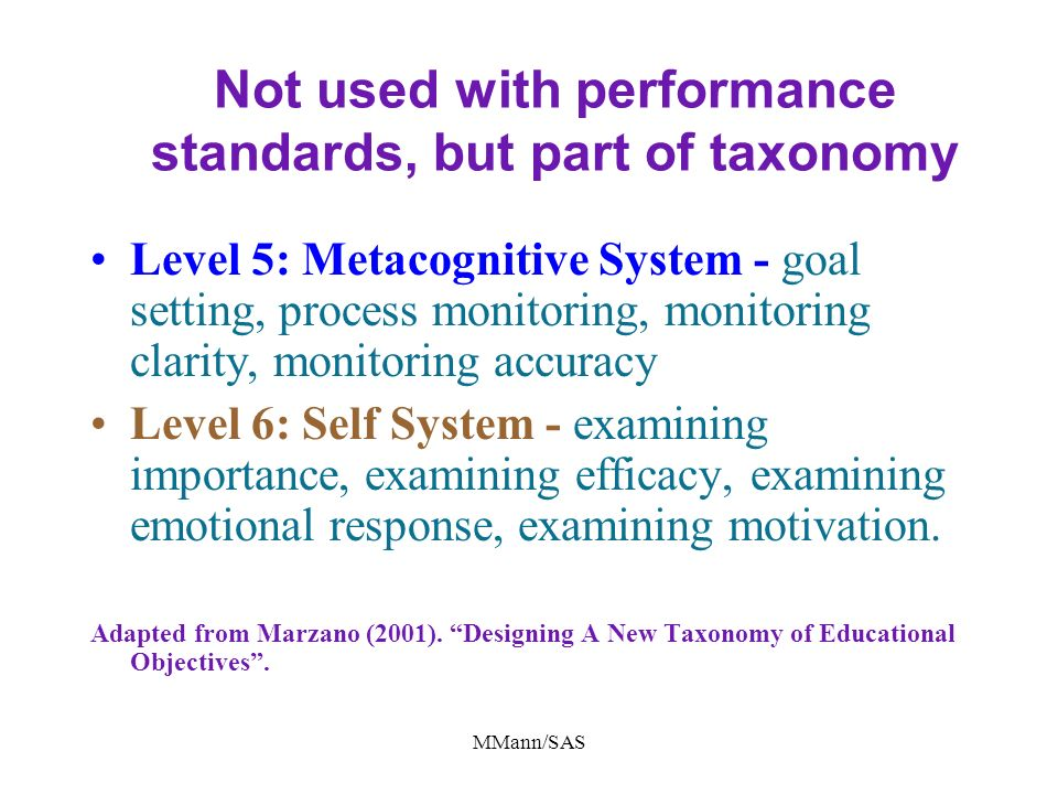 Not used with performance standards, but part of taxonomy