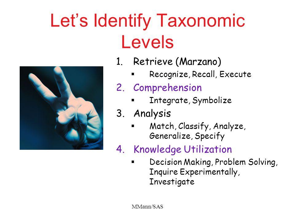 Let's Identify Taxonomic Levels