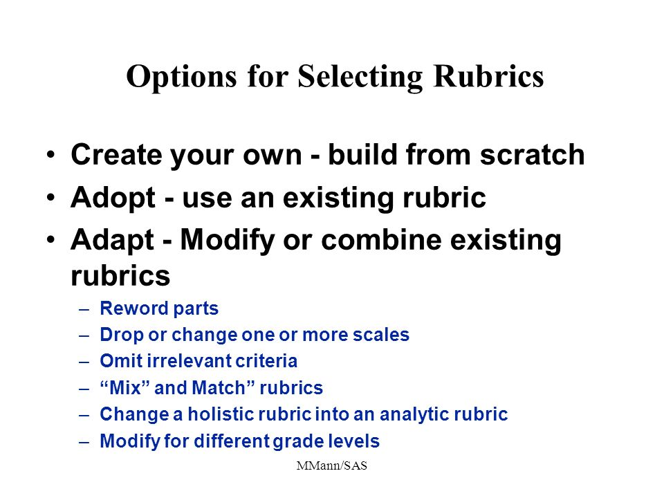 Options for Selecting Rubrics