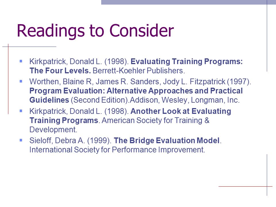 IDassessment   Kirkpatricks four levels of evaluation