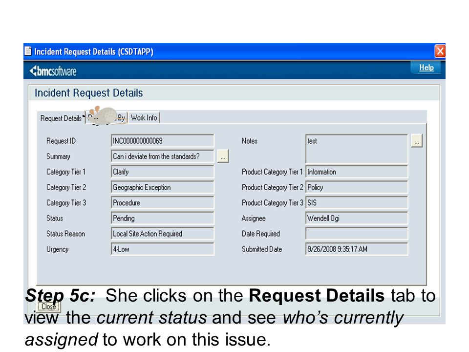 Step 5c: She clicks on the Request Details tab to view the current status and see who's currently assigned to work on this issue.