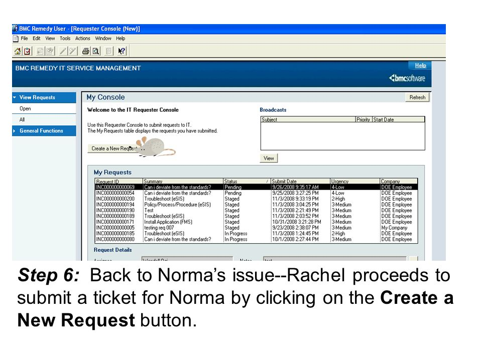 Step 6: Back to Norma's issue--Rachel proceeds to submit a ticket for Norma by clicking on the Create a New Request button.