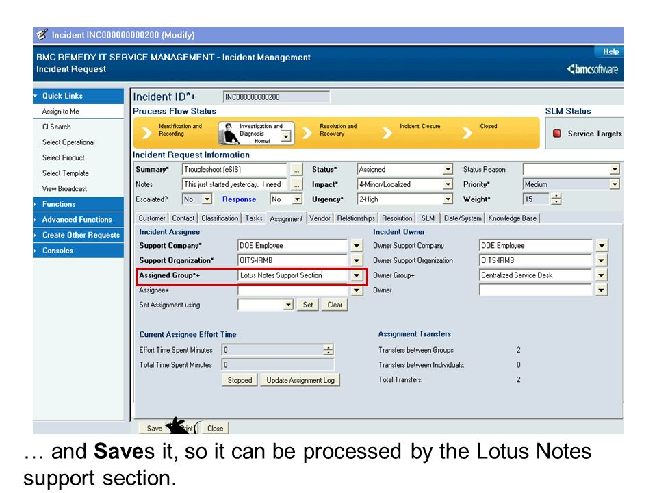 … and Saves it, so it can be processed by the Lotus Notes support section.