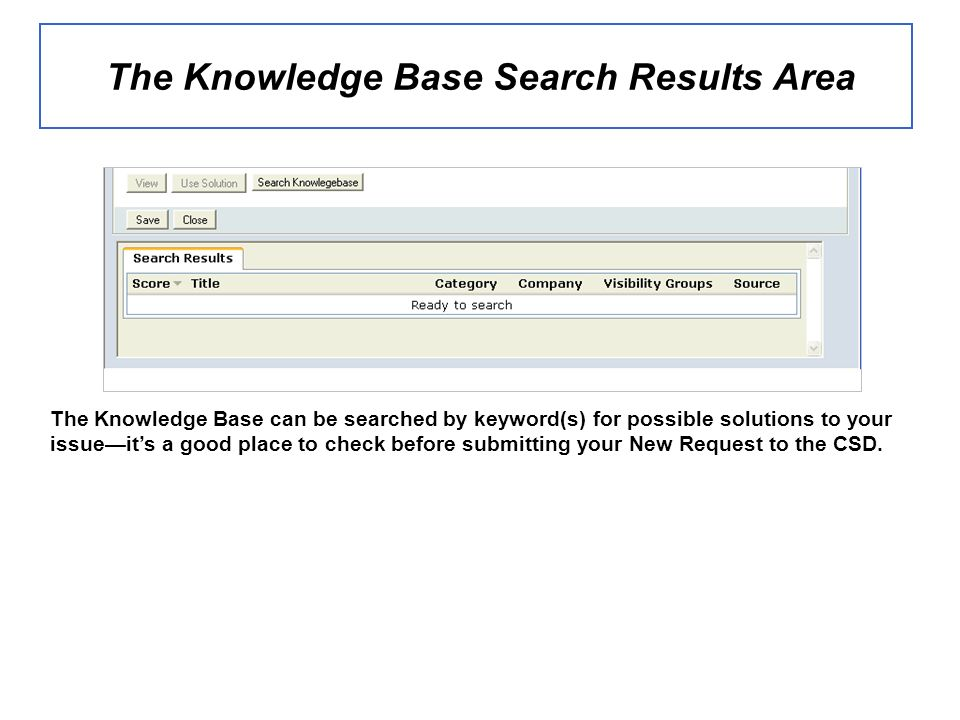 The Knowledge Base Search Results Area