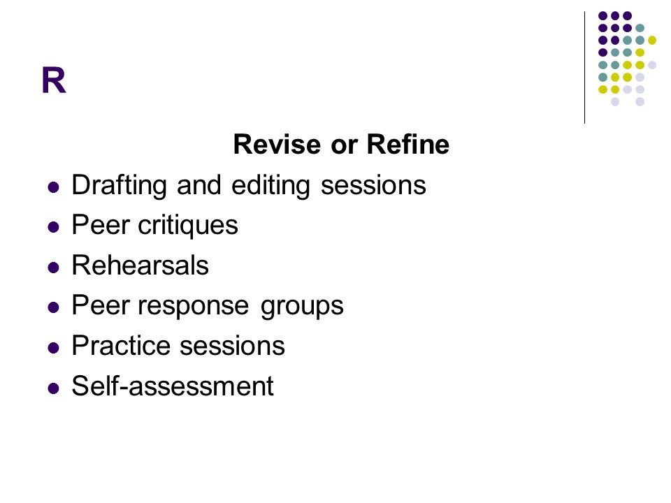 R Revise or Refine Drafting and editing sessions Peer critiques