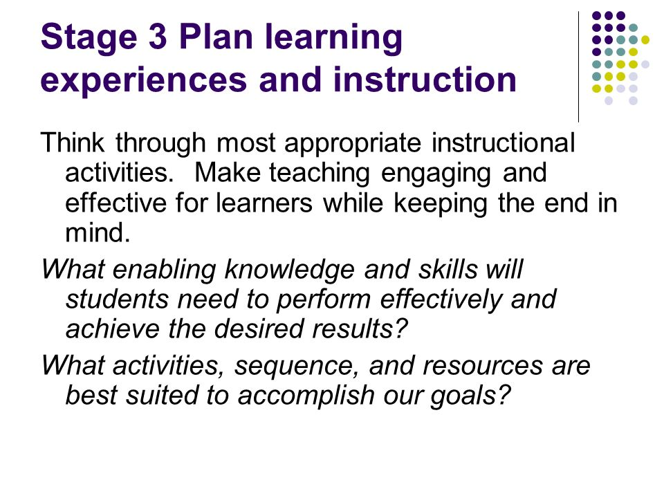 Stage 3 Plan learning experiences and instruction
