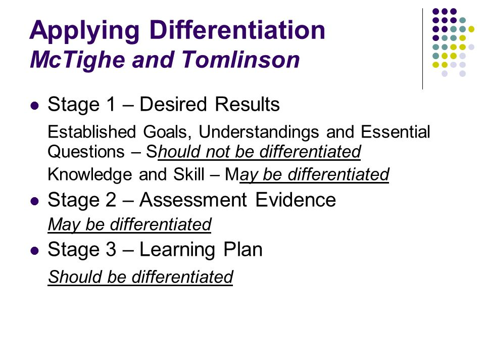 Applying Differentiation McTighe and Tomlinson