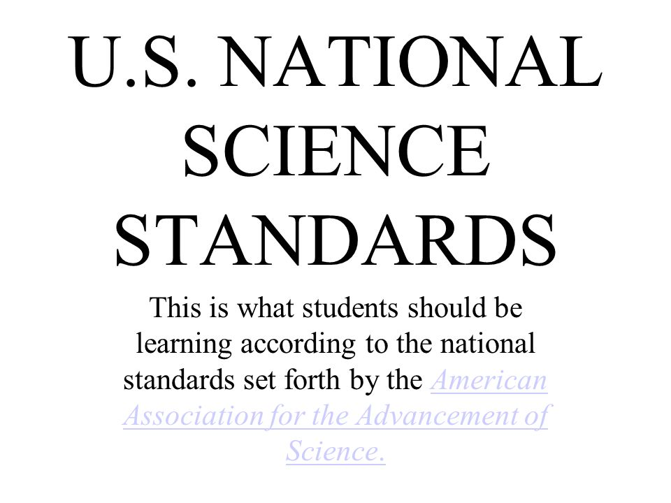 U.S. NATIONAL SCIENCE STANDARDS