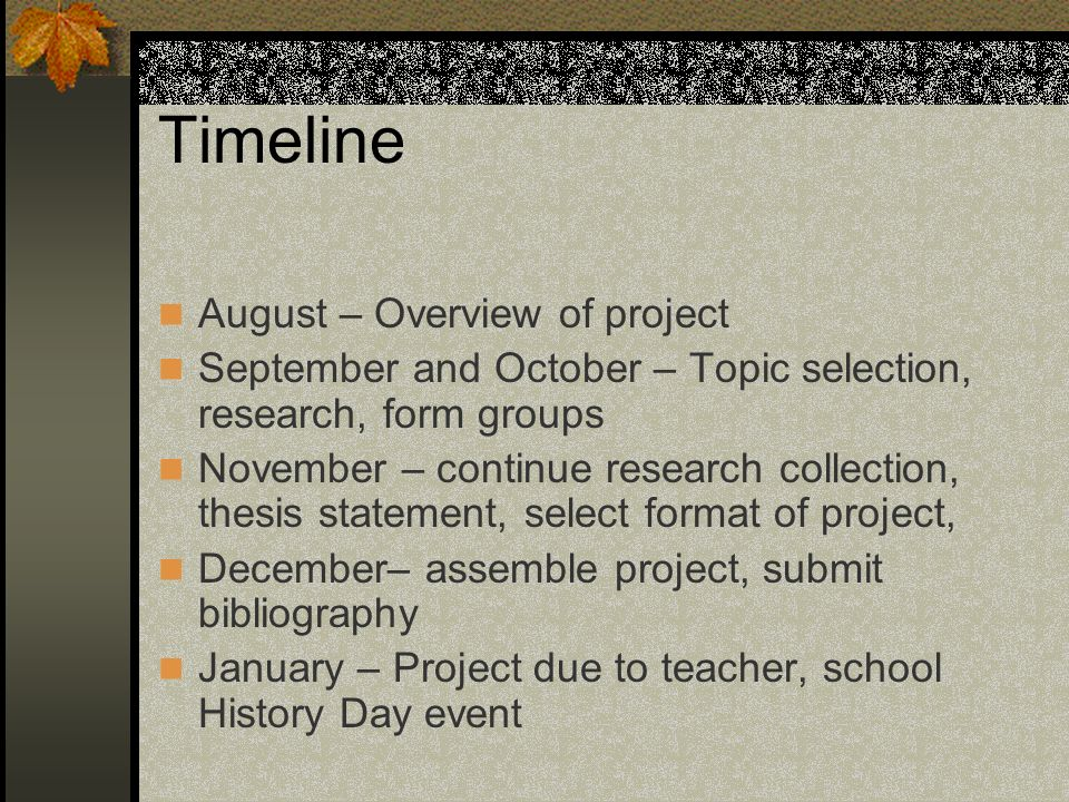 Timeline August – Overview of project