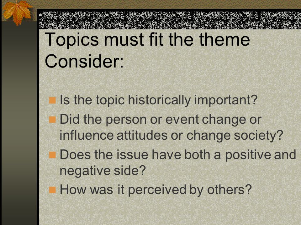 Topics must fit the theme Consider: