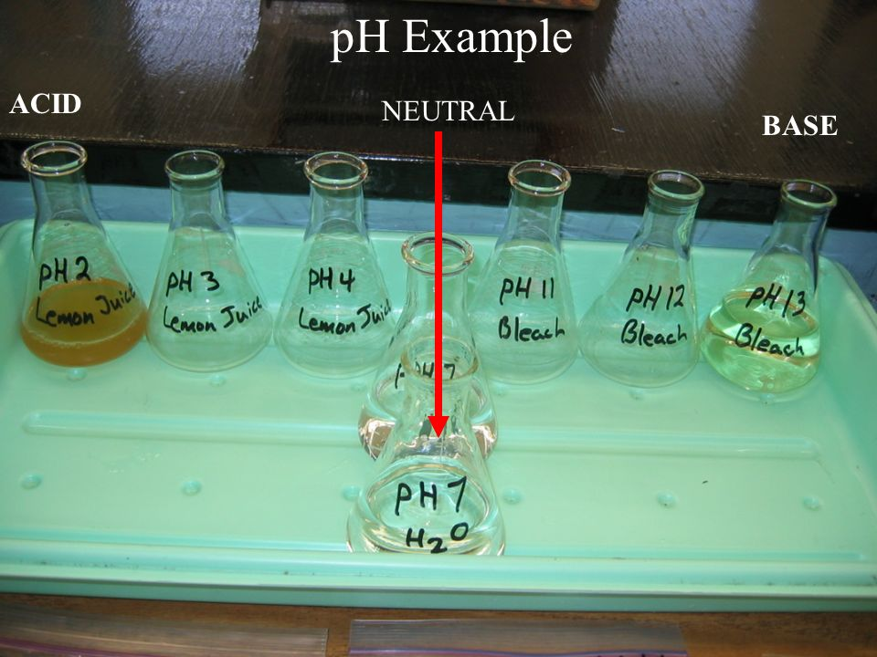 pH Example ACID NEUTRAL BASE