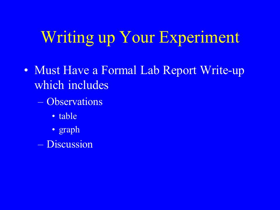 Writing up Your Experiment