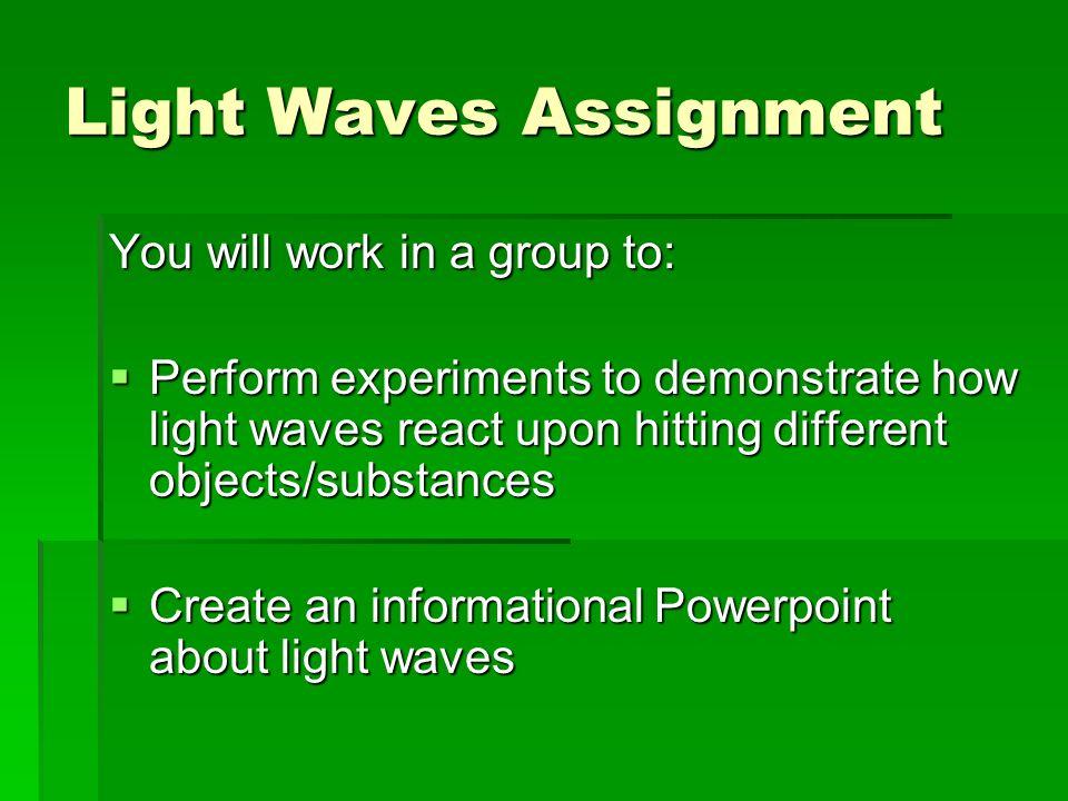 Light Waves Assignment