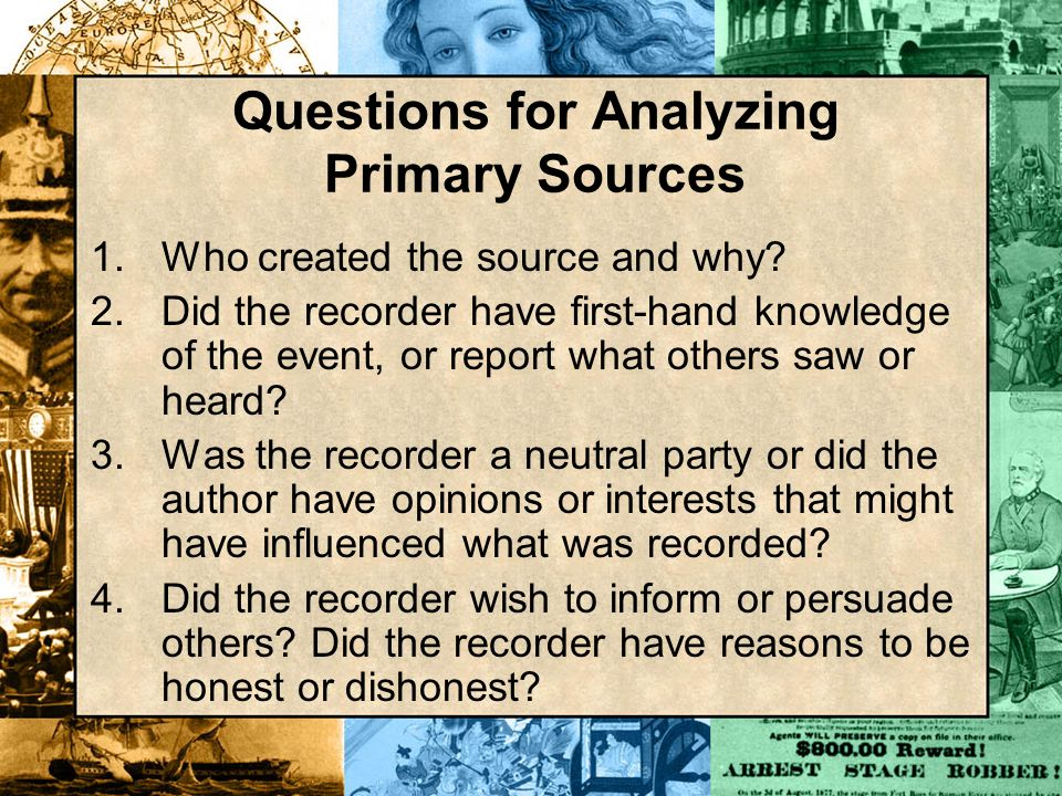 Questions for Analyzing Primary Sources