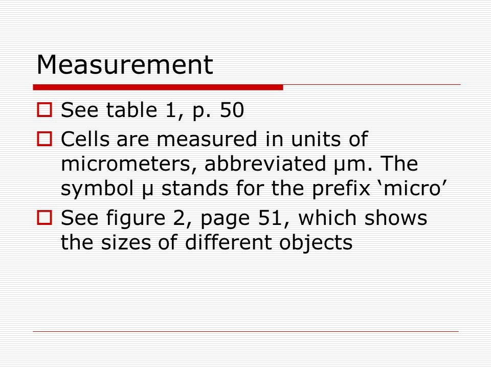 Measurement See table 1, p. 50