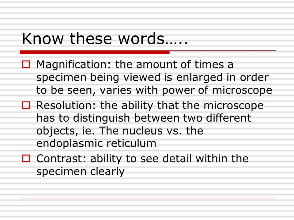 Know these words….. Magnification: the amount of times a specimen being viewed is enlarged in order to be seen, varies with power of microscope.
