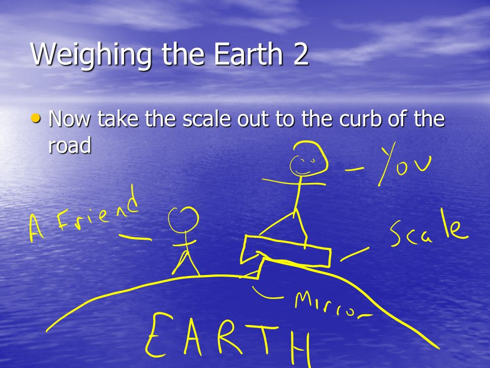 Weighing the Earth 2 Now take the scale out to the curb of the road