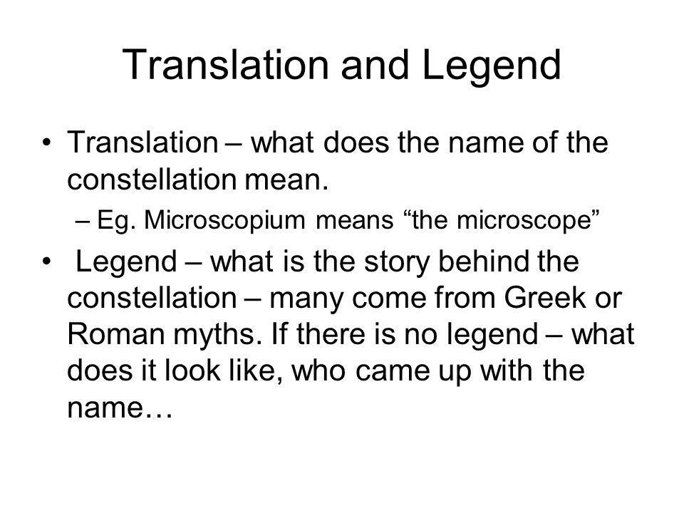 Translation and Legend