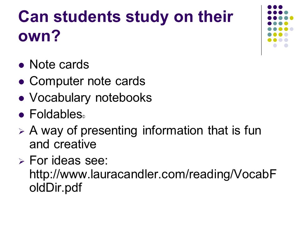 Can students study on their own