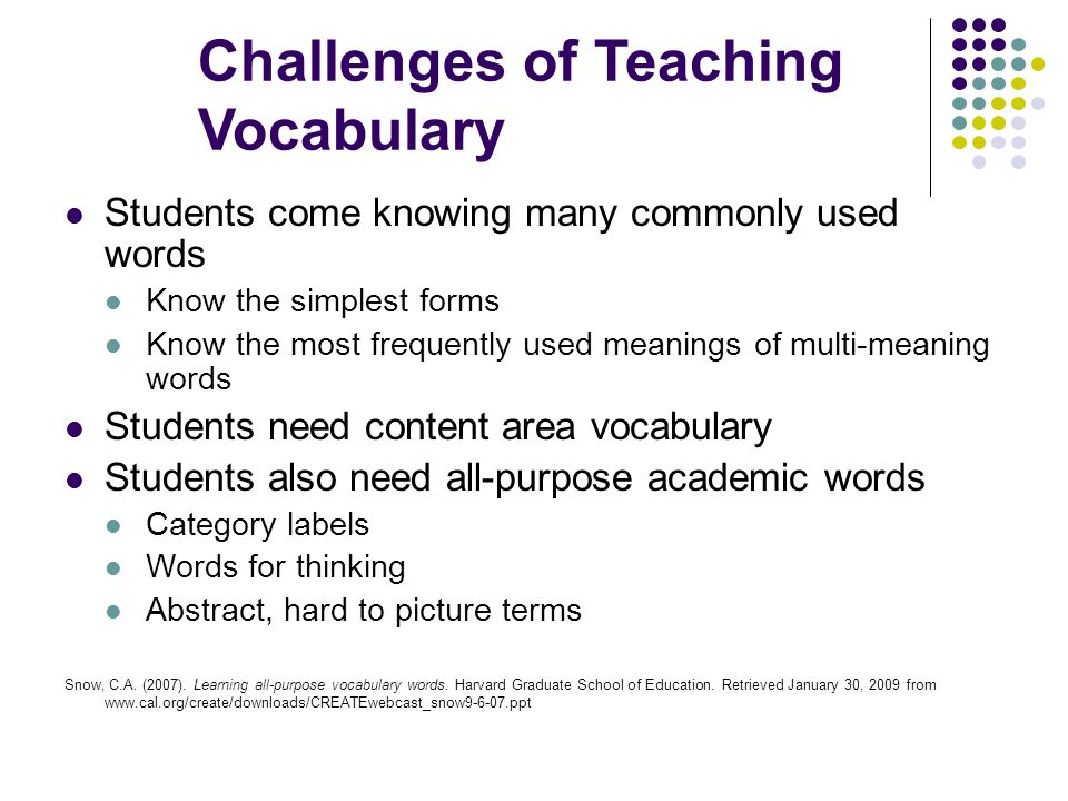 Challenges of Teaching Vocabulary